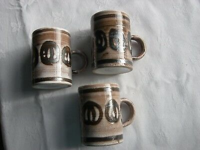 Vintage - Cinque Ports - Rye Pottery - The Monastery - 3 Cups