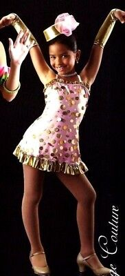 Pennies From Heaven Dance Costume Polka Dot Tap Dress with Mitts Child X-Large