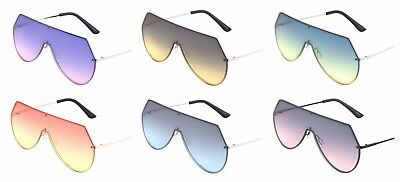 Wholesale 12 Pair Fashion Rimless One Piece Sunglasses with Oceanic Color Lens