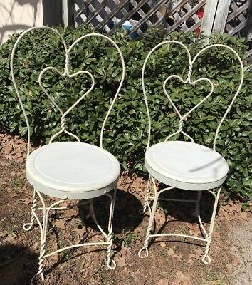 Set Of 2 Vintage Ice Cream Parlor Chairs W/Sweetheart Twisted Wire
