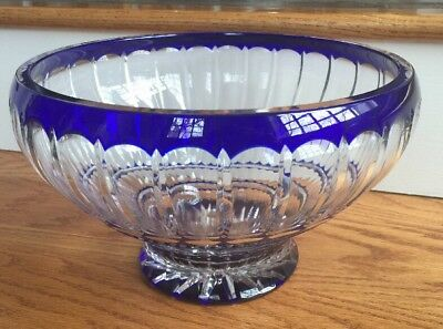 Cased Crystal Cobalt Blue Cut To Clear Large  Bowl/ Centerpiece Sudety Poland
