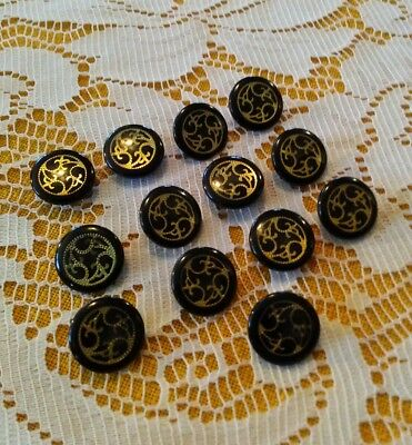 """13 vintage black and gold buttons .5"""""""