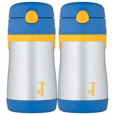 Thermos Foogo Stainless Steel Straw Bottle, 10 Ounce , (2-Pack) (Blue/Yellow)