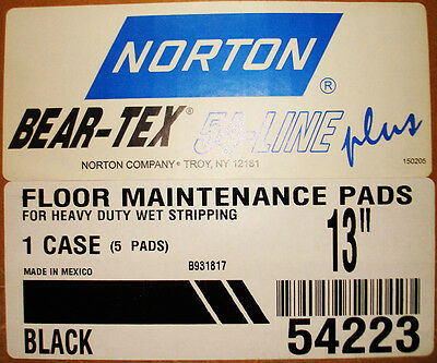 "13"" Black Floor Pad By Norton, 54223, Box Of 5, Use For Heavy Duty Wet Stripping"