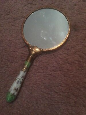 Vintage Antique Victorian Hand Mirror With Hand Painted Porcelain Handle!!