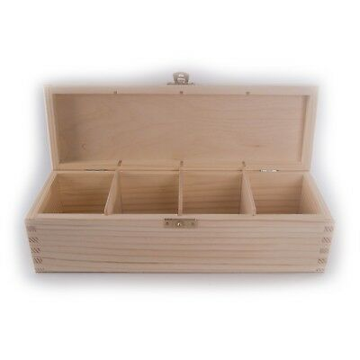 Rectangular Wooden Pine Storage Box With Lid Clasp u0026 4 Compartments /28.5x9.5cm  sc 1 st  PicClick UK & RECTANGULAR WOODEN PINE Storage Box With Lid Clasp u0026 4 Compartments ...
