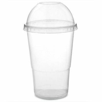 100 x 10oz Disposable Smoothie Cups & Domed Lids Clear Plastic Party Milkshake
