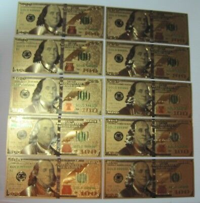 10 (Ten) 24K Gold Plated $100 Dollar Bill's New Style + Mylar Sleeve Free Ship!