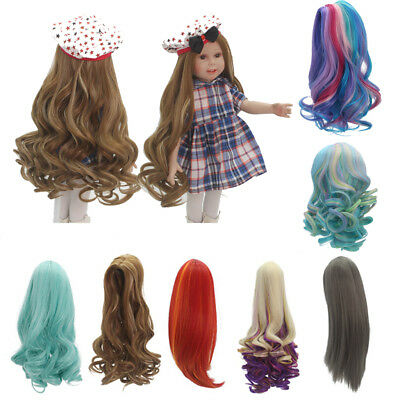 "Curly/Straight Long Hair Replacement Wig for 18"" American Girl Dolls DIY Making"