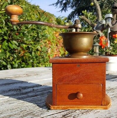 Beautiful Vintage Manual French Solid Wood and Brass Coffee Grinder with Drawer