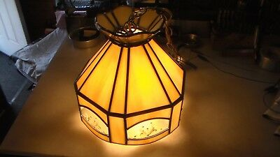 Hanging Lamp Light Slag Stained Glass Copper Dried Pressed Flowers