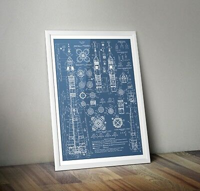 Soyuz Blueprints poster A3  A4 Russian Rocket Print - Space Wall Art USSR