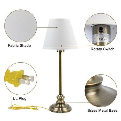 Set of 2 Table Lamps Antique Gold Metal Fabric Shades Bedside Desk Lamp