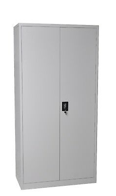 Steel Stationery Cupboard Metal Locker Files Tool 210 cm Grey