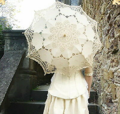 Outdoor Lace Cotton Embroidered Parasol Umbrella Bridal Wedding Party Decoration