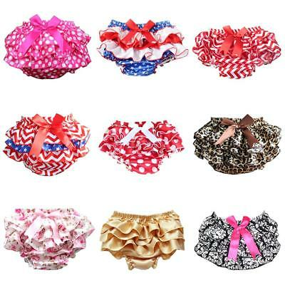 Newborn Infant Baby Girls Ruffle Bloomer Skirt Bow Lace Diaper Cover Pants N9Y6