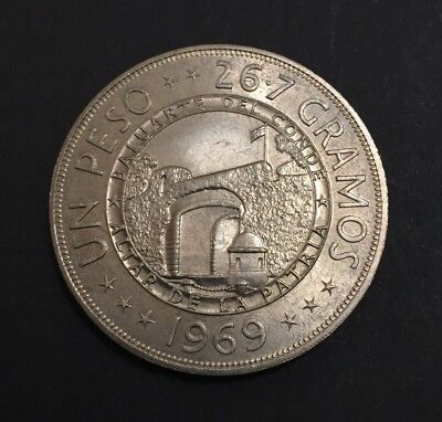 Dominican Republic Peso 1969 CuNi Only 30k Minted Commemorative BU Coin