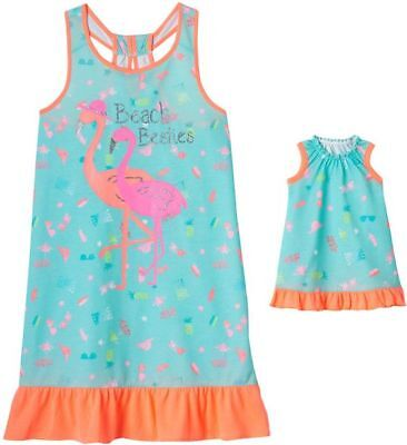 """NWT Girls Flamingo Nightgown & 18"""" Doll Gown Fits American Girl Dollie & Me"""