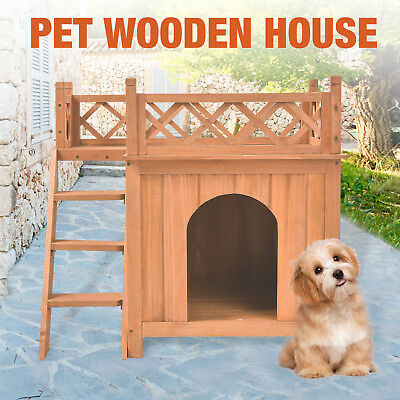 Dog Pet Wood House Wooden Room With Roof Balcony Bed Shelter Outdoor & Indoor