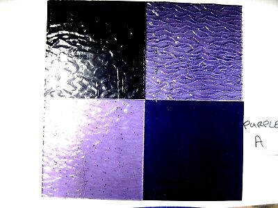4 PURPLE Stained Glass Hobby Sheets 100mm x 100mm x 3m  Quality Craft Items