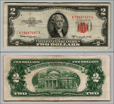 1953C $2 Dollar Bill Old Us Note Legal Tender Paper Money Currency Red Seal Z167