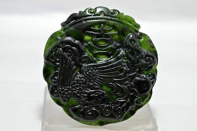 Chinese New hand-carved natural black green jade pendant Dragon and Phoenix