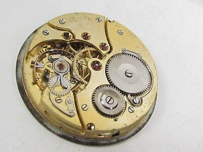 Vintage Zenith 15 J Wind Pocket Watch Movement Swiss High Grade, Micro Regulator