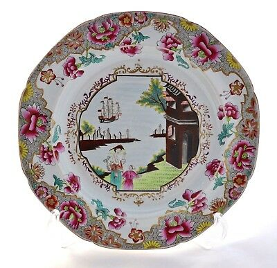 """Rare Antique Spode Hand Painted Printed & Gilded *ship* Pattern 3067 8.25"""" Plate"""