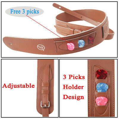 Leather Guitar Strap Brown Bass Acoustic Electric Guitar+ Picks Holder + 3 Picks