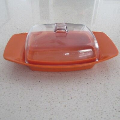 Vintage 1970s Orange and Clear Lid HOLLYWOOD TAMCO Melamine Butter Dish