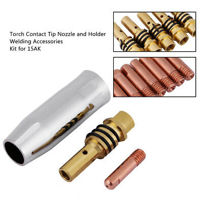 17Pcs Torch Contact Tip Nozzle Holder 15AK Welding Accessories Kit M6*25*0.8 gbd