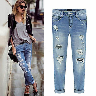 Womens Celeb Stretch Ripped Skinny High Waist Denim Pants Jeans Casual Trousers