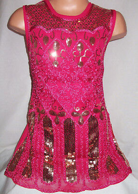 Girls Vintage Pink Embroidered Sparkly Sequin Gold Pattern Dance Party Dress