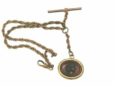 Antique Amber Intaglio Fob Charm  Dome  Victorian Gold GF Watch Chain
