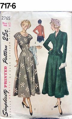 VTG 1950s Sewing Pattern Simplicity #2765 Size 12 Bust 30 Misses' Dress New Look