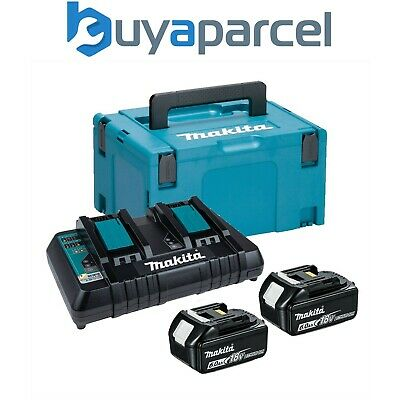 Makita BL1860 18v 2 x 6.0ah Lithium Batteries DC18RD Dual Port Charger + Makpac