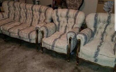 Antique 3Pc Sofa Set Living Room Furniture Broken Damaged