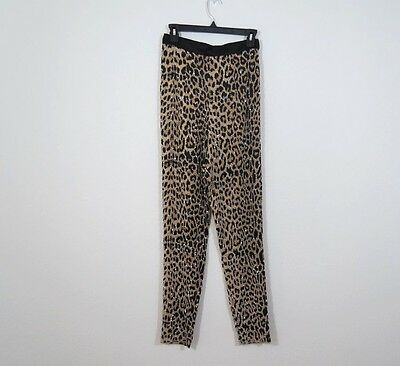 NAEEM KHAN RIAZEE Couture 80'S VINTAGE Beaded Leopard Pants Silk Small 26 heavy