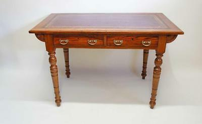 Victorian  Oak leather top, twin  drawer, writing table 107 cm x 60 cm