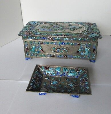 Antique Chinese Cloisonne Enamel Over Brass 2 Piece Tray Box
