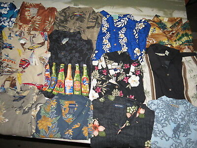 Lot Of 36 Hawaiian Shirts Rayon Short Sleeve Adult Mens Sizes Button Tropical