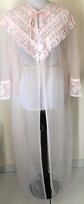 Bernette New York Vintage Sheer Chiffon PinK Pearl Robe With Bell Sleeves