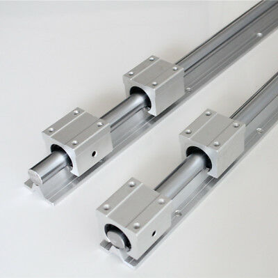 2Pcs SBR20 Linear Rails Guide Shaft Rod L300-1500mm + 4Pcs SBR20UU Block Bearing