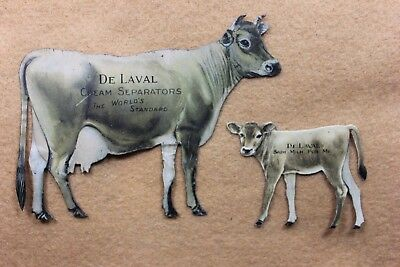 Vintage De Laval Cream Separator Tin Jersey Cow & Calf Set - MINT CONDITION !!