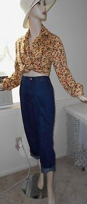 Vtg Estate 50s 60s Sears High Waist Cotton Blend Denim Blue Jeans  Petite S M