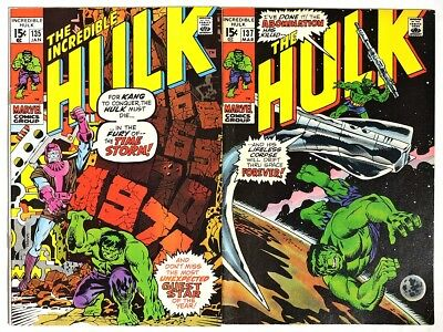 S364 THE INCREDIBLE HULK #135 & #137 Marvel 7.0 FN/VF (1971) HERB TRIMPE Cover^^
