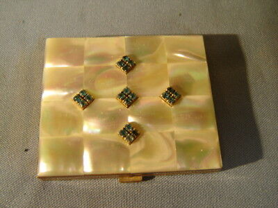 Vintage Mother Of Pearl Compact Faux Blue Jewels