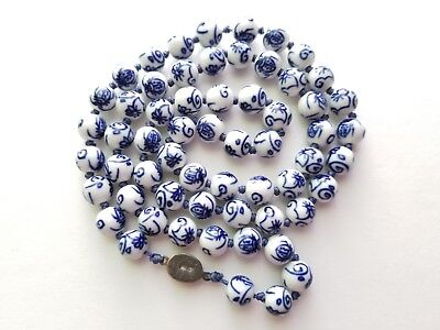 Chinese Vintage blue white porcelain bead necklace sterling clasp bug motif
