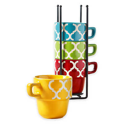 Ceramic 5 Pcs. Stacking Coffee Mug Set With Rack - Mugs With Stand - Tile