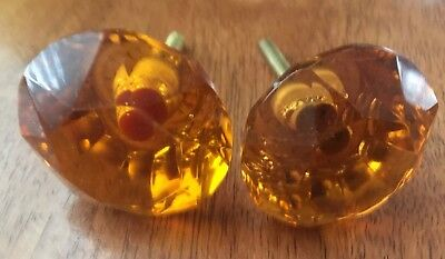 Vintage Door / Cabinet Knobs Set Of 4 Puller Antique Style Crystal Cut Amber